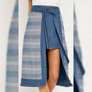 Free People Double the Fun Denim Wrap Skirt sz 0